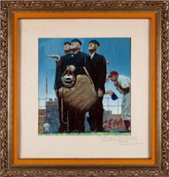 "Featured item image of 1948 Original Study for ""Tough Call"" by Norman Rockwell -- Gifted to Legendary Umpire ""Beans"" Reardon...."