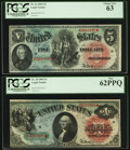 Large Size:Legal Tender Notes, Fr. 18 $1 1869 Legal Tender PCGS New 62PPQ, and a. Fr. 64 $5 1869Legal Tender PCGS Choice New 63.. ... (Total: 2 notes)