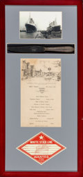 Decorative Arts, British:Other , A Group of Twelve Oceanliner Framed Menus and Memorabilia. (variousdimensions). Property from the Estate of Charles Schal... (Total:12 Items)