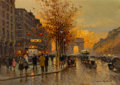 Fine Art - Painting, European:Modern  (1900 1949)  , Lucien Corbeille (French, b. 1922). Avenue desChamps-Élysées. Oil on canvas. 13 x 18 inches (33.0 x 45.7 cm).Signed lo...