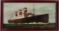 Fine Art - Painting, European, An Oil on Canvas Painting of the S. S. Leviathan Ocean Liner. 30 inches high x 15 inches wide (76.2 x 38.1 cm) ...