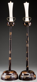 Asian:Japanese, A Pair of Japanese Lacquered Prickets, late Meiji Period. 24 incheshigh (61.0 cm). ... (Total: 2 Items)