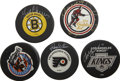 Hockey Collectibles:Others, Wayne Gretzky/Bobby Hull/Gerry Cheevers/Charlie Simmer/Ron Hextall Signed Hockey Pucks Lot of 5. Offered is a lot of five h...