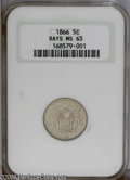 Shield Nickels: , 1866 5C Rays MS63 NGC. PCGS Population: (294/488). NGC Census:(220/639). Mintage: 14,742,500. Numismedia Wsl. Price: $320....