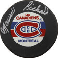 """Hockey Collectibles:Others, Maurice Richard Single Signed Hockey Puck. Maurice """"Rocket"""" Richard was the most prolific scorer of his era. Playing for the..."""