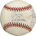Autographs:Baseballs, Tony LaRussa/Rickey Henderson/Dave Stewart Signed Baseball. The OAL (Brown) baseball is blessed with the signatures of thre...