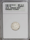 Early Half Dimes: , 1795 H10C --Damaged, Bent, Corroded, Cleaned--ANACS. Fine Details,Net G4. LM-8. PCGS Population (5/435). NGC Census: (4/371...