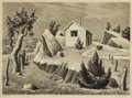 Texas:Early Texas Art - Regionalists, WILLIAM LESTER (1910-1991). Squatters Hut, 1941. Lithographon paper. 10 x 14 inches (25.4 x 35.6 cm). Signed and dated ...