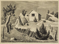 WILLIAM LESTER (1910-1991) Squatters Hut, 1941 Lithograph on paper 10 x 14 inches (25.4 x 35.6 cm