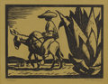 Prints, JERRY BYWATERS (1906-1989). Arriero. Woodblock print on paper. 6 x 8 inches (15.2 x 20.3 cm). Signed lower right. Titled...