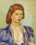 Texas:Early Texas Art - Regionalists, OLIN TRAVIS (1888-1975). Redhead. Oil and pencil on paper.12 x 9-1/2 inches (30.5 x 24.1 cm). Signed lower right. Signe...