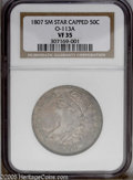 Bust Half Dollars: , 1807 50C Capped Bust, Small Stars VF35 NGC. O-113A. PCGS Population(2/14). NGC Census: (0/0). Numismedia Wsl. Price: $559...