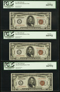 Fr. 2302 $5 1934A Hawaii Federal Reserve Notes. Three Consecutive Examples. PCGS Gem New 66PPQ