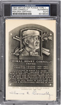 Autographs:Baseballs, 1953 Tom Connolly Signed Artvue Hall of Fame Plaque Postcard,PSA/DNA Authentic. ...