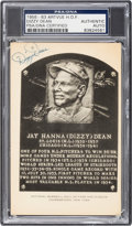 Baseball Collectibles:Others, 1956-63 Dizzy Dean Signed Artvue Hall of Fame Postcard, PSA/DNAAuthentic. ...