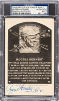 Baseball Collectibles:Others, 1956 Rogers Hornsby Signed Artvue Hall of Fame Plaque Postcard,PSA/DNA Authentic. ...