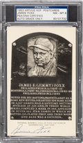 Baseball Collectibles:Others, 1953 Jimmie Foxx Signed Artvue Hall of Fame Plaque Postcard,PSA/DNA Authentic. ...
