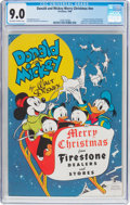 Golden Age (1938-1955):Cartoon Character, Donald and Mickey Merry Christmas 1948 (K. K. Publications, Inc.,1948) CGC VF/NM 9.0 Off-white to white pages....