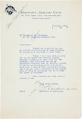 Football Collectibles:Others, 1936 John Heisman Signed Letter - From Last Year of His Life....