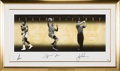 Miscellaneous Collectibles:General, Circa 2005 Muhammad Ali, Michael Jordan & Tiger Woods SignedUDA Print....