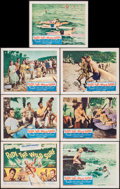 "Movie Posters:Sports, Ride the Wild Surf (Columbia, 1964). Title Lobby Card & Lobby Cards (6) (11"" X 14""). Sports.. ... (Total: 7 Items)"