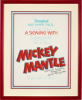 """Baseball Collectibles:Others, 1990's Mickey """"Goofy"""" Mantle Signed Disneyland Oversized Promotional Display...."""