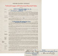 Baseball Collectibles:Others, 1950 Gil Hodges Signed Brooklyn Dodgers Uniform Player's Contract - Also Signed By Branch Rickey! ...