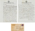 Baseball Collectibles:Others, 1945 Connie Mack Handwritten Letter to Al Simmons Regarding SpringTraining. ...