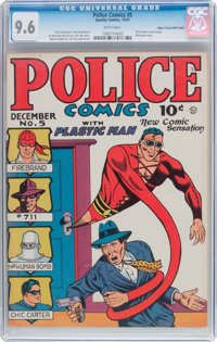 Police Comics #5 Mile High Pedigree (Quality, 1941) CGC NM+ 9.6 White pages