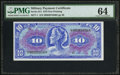 Military Payment Certificates:Series 611, Series 611 $10 PMG Choice Uncirculated 64.. ...