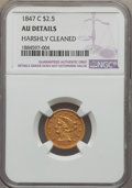 Liberty Quarter Eagles, 1847-C $2 1/2 -- Harshly Cleaned -- NGC Details. AU. Variety 1....