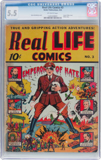Real Life Comics #3 (Nedor Publications, 1942) CGC FN- 5.5 Off-white pages