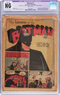 Batman #1 Coverless, Trimmed, Married (DC, 1940) CGC No Grade Slightly brittle pages