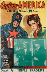 """Captain America Serial: Chapter 9 """"Triple Tragedy"""" Movie Poster (Republic, 1944) One Sheet (27"""" X 41""""..."""