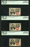Fractional Currency:Fifth Issue, Fr. 1266 10¢ Fifth Issue PCGS Choice New 63PPQ. Three Examples..... (Total: 3 notes)