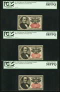 Fractional Currency:Fifth Issue, Fr. 1309 25¢ Fifth Issue PCGS Choice About New 58PPQ. Three Examples.. ... (Total: 3 notes)