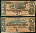 Confederate Notes:Group Lots, T69 $5 1864 PF-10 Cr. 564;. T68 $10 1864 PF-38 Cr. 550.. ...(Total: 2 notes)