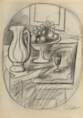 Fine Art - Work on Paper:Drawing, Pablo Picasso (1881-1973). Pot et compotier avec fruits,1919. Pencil on paper. 13-7/8 x 10 inches (35.2 x 25.4 cm). Sig...