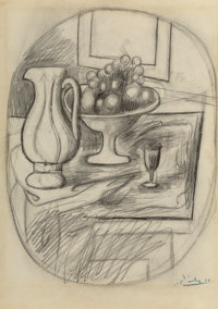 Pablo Picasso (1881-1973) Pot et compotier avec fruits, 1919 Pencil on paper 13-7/8 x 10 inches (