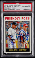 "Autographs:Sports Cards, Signed 2013 Topps Heritage Derek Jeter and Mike Trout ""FriendlyFoes"" Card #41 PSA/DNA Authentic...."