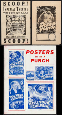 """Reefer Madness (Motion Picture Ventures, R-1940s). Herald (2) (6"""" X 9"""") & Pressbook Sheet (10.5""""..."""