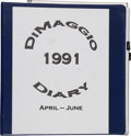Baseball Collectibles:Others, 1991 Joe DiMaggio Handwritten Diary. ...