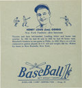 Baseball Cards:Singles (1930-1939), 1936 R301 Overland Candy Wrapper - Lou Gehrig. ...