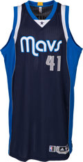 Basketball Collectibles:Uniforms, 2014-15 Dirk Nowitzki Game Worn Dallas Mavericks Jersey - WithBuilt-In Mic Pocket....