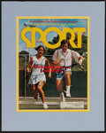 "Miscellaneous Collectibles:General, Chris Evert and Jimmy Connors Signed ""Sport"" Magazine CoverDisplay...."