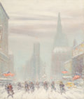 Fine Art - Painting, American, Johann Berthelsen (American, 1883-1972). Times Square inWinter. Oil on canvas. 30-1/8 x 25-1/8 inches (76.5 x 63.8cm)...