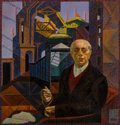 Fine Art - Painting, American, Francis Criss (American, 1901-1973). The Thinker (SelfPortrait). Oil on canvas. 26 x 25 inches (66.0 x 63.5 cm).Signed...
