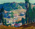Fine Art - Painting, American, Paul Lauritz (Canadian, 1889-1975). Adam's Hill, Glendale,California. Oil on canvas. 22-1/4 x 26-1/4 inches (56.5 x66....