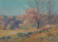 Maurice Braun (American, 1877-1941) Autumn Sketch Oil on canvas laid on board 10 x 14 inches (25