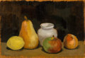 Fine Art - Painting, American:Contemporary   (1950 to present)  , Robert Kulicke (American, 1924-2007). Untitled (Still Life withFruit), 1958. Oil on panel. 6 x 8-1/2 inches (15.2 x 21....